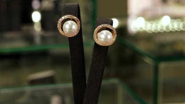 Thumbnail for Gold Earrings With Crystals And Pearls On a Pedestal, Jewelry, Classic Jewelry For Ladies In