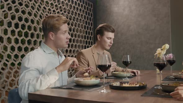 Thumbnail for Young Men Dining With Girlfriends