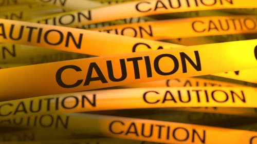 Gelber Warnstreifen Vorsicht