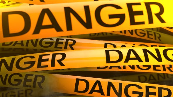 3D Rendering Yellow Danger Stripes