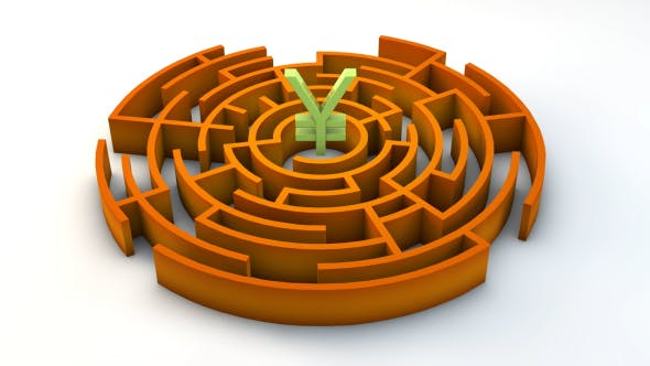 Thumbnail for 3d Maze With Japanese Yen Sign