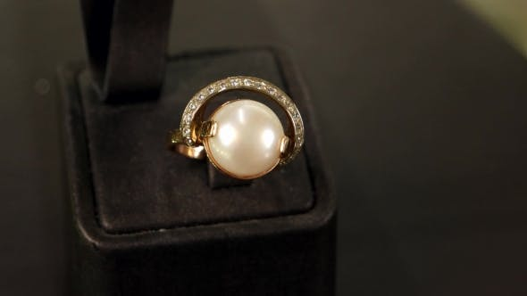 Thumbnail for Jewellery Shop, Jewelry Made Of Pearls, Beautiful Female Golden Ring With Pearl Overview, Classic