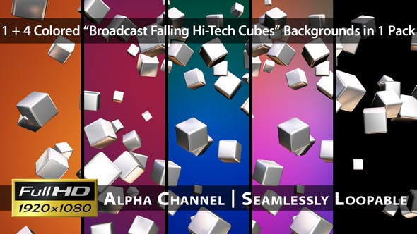Thumbnail for Broadcast Falling Hi-Tech Cubes - Pack 01