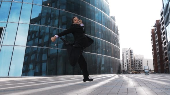 Thumbnail for Businessman Jumping For Joy