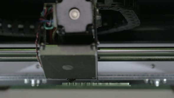Thumbnail for Extreme  View Of Mechanism Of 3d Printer Making White Plastic Object