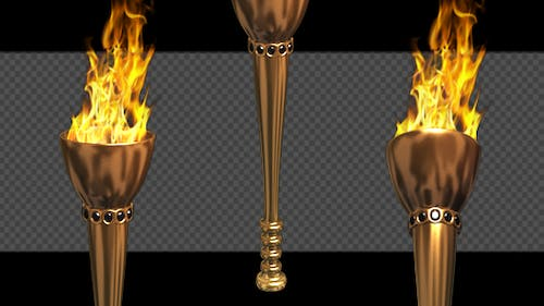 Fire Torch - Classic - Gold - Pack of 2