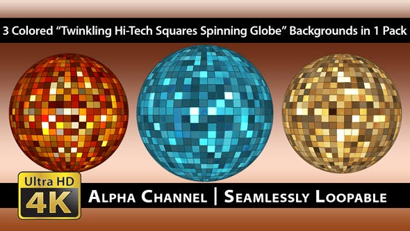 Thumbnail for Twinkling Hi-Tech Squares Spinning Globe - Pack 01