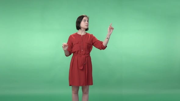 Cover Image for Woman In a Red Dress Flipping The  Virtual Screen