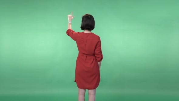 Thumbnail for Woman In a Red Dress Flipping The  Virtual