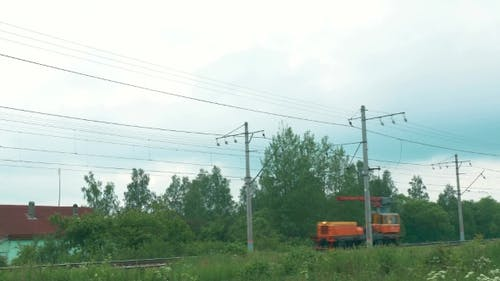 Motor Locomotive On The Railroad