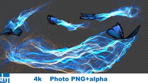 Blue Butterfly Gorgeous Particle Light Trailing Flying V1