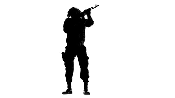 Soldier Armed. Silhouette