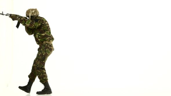 Thumbnail for Armed Soldiers, Walk Back. White Backgraund