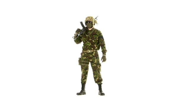 Thumbnail for Man In Camouflage Looks Around. White Background