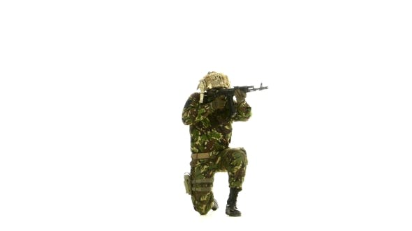 Thumbnail for Armed Soldier Stands On One Knee. White Background