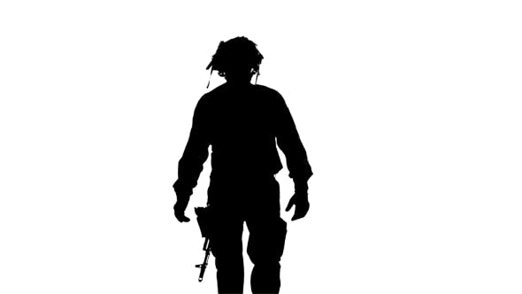 Thumbnail for Man In Camouflage The Form. Silhouette