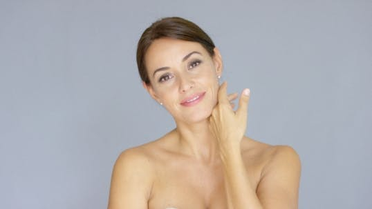 Thumbnail for Pretty Bare Shouldered Woman With Fingers On Neck
