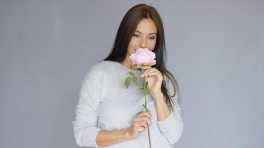 Thumbnail for Elegant Beautiful Woman Holding Rose Flower