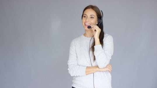 Thumbnail for Adorable Call Center Agent Speaking With Someone On Headset