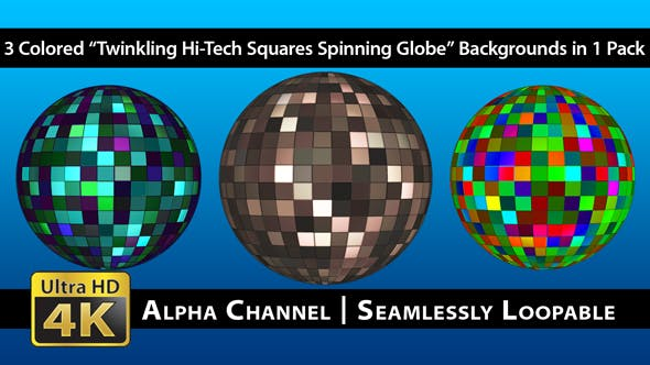 Thumbnail for Twinkling Hi-Tech Squares Spinning Globe - Pack 02