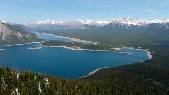 Thumbnail for Aerial View Of Blue Lakes In The Snow Capped Rocky Mountains