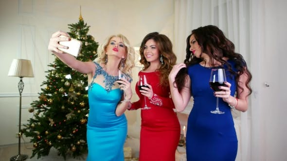 Thumbnail for New Year Selfie Photos Make a Girl, Beautiful Young Woman Celebrating Christmas At a Party, Cell