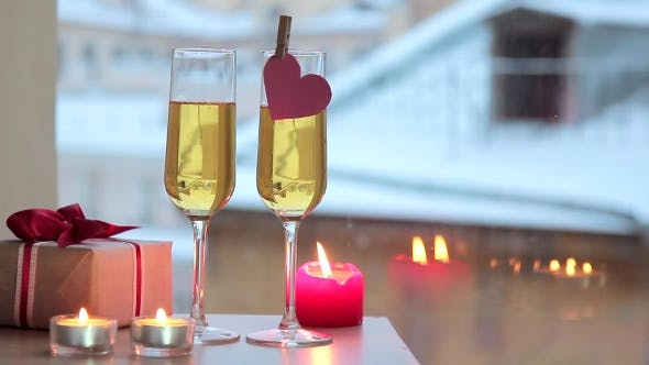 Thumbnail for Sparkling Wine In Two Glasses And Gift For Valentine's Day