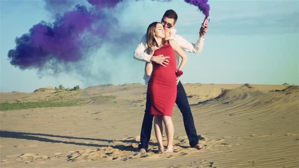 Thumbnail for Couple in Love with Purple Smoke