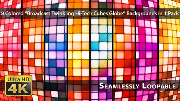 Thumbnail for Broadcast Twinkling Hi-Tech Cubes Globe - Pack 01