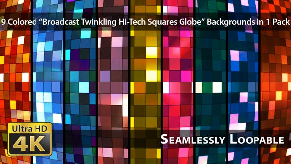 Thumbnail for Broadcast Twinkling Hi-Tech Squares Globe - Pack 02