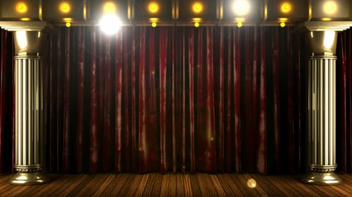 Velvet Curtain Stage With Loop Lights