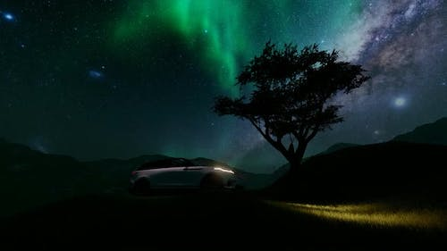 SUV Parked in the Forest and Milky way Sky