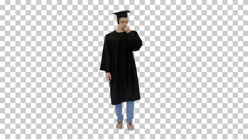 Young Graduated Man Coughing, Suffering an Illness, Alpha Channel