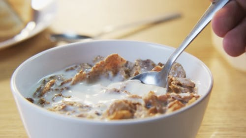 Muesli Mixed With a Spoon