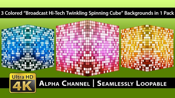 Thumbnail for Broadcast Hi-Tech Twinkling Spinning Cube - Pack 01
