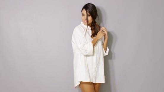 Beautiful Latina Woman Posing Isolated On Gray
