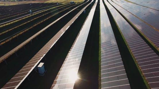 Thumbnail for Lange Reihen von Photovoltaik-Paneelen auf einem Solarpark