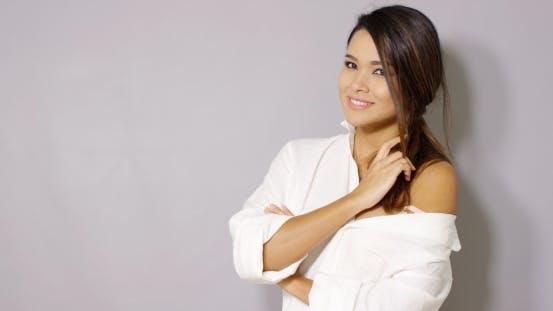 Sexy Latina Woman Posing In White Shirt