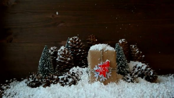 Thumbnail for Christmas And New Year Background With Snow, Pine Cones, Present With Red Fir Tree.