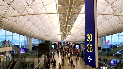 Time lapse of people in Hong Kong airport