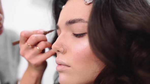 Stylist Paints Eyebrows, Make Up Artist At Work, Model Preparing For Photoshoot, Making Make Up