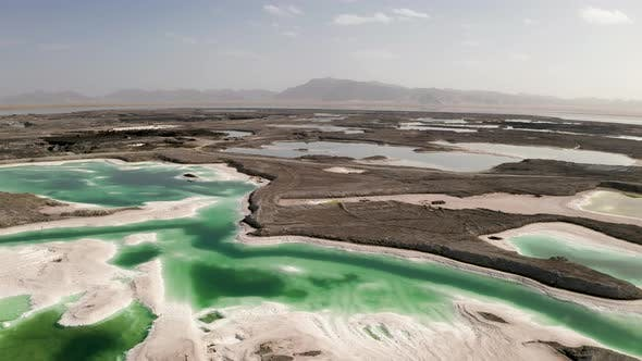 Thumbnail for Aerial of salt lakes, natural landscape in Qinghai, China.