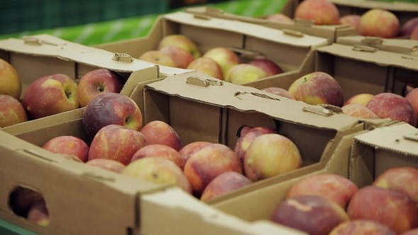 Thumbnail for Fresh Fruit At A Stall. Apples In Boxes In Supermarket