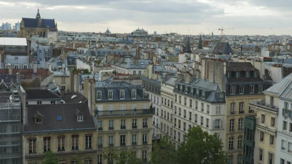 Cover Image for Panorama Of Paris With Flying Pigeons