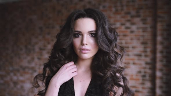 Thumbnail for Portrait Of Sexy Caucasian Woman With Long Curl Brown Hair, Girl Flirts, Woman With p
