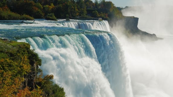 Thumbnail for The Famous Waterfall Niagara Falls, a Popular Spot Among Tourists From All Over The World. The View