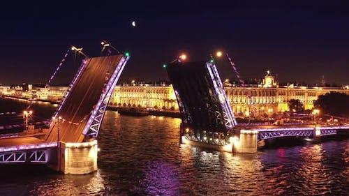 Aerial of Drawn Palace Bridge and Winter Palace