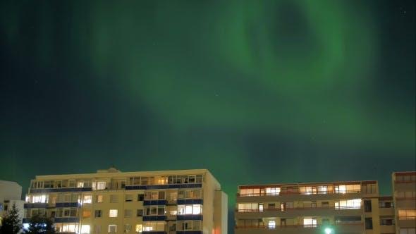 Thumbnail for Aurora Borealis Over Living Houses In Reykjavik, Iceland,
