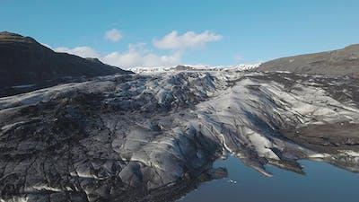 Ash And Ice Of Solheimajokull Glacier