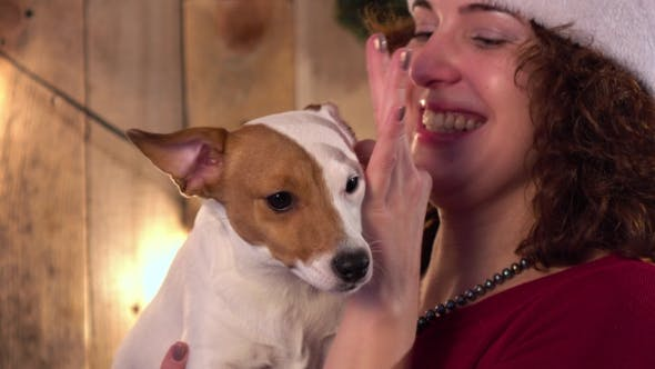 Thumbnail for Young Woman Hugging Her Dog With Red Christmas Hat, Wooden Background